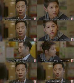 tht seems wrong. Korean Drama Funny, Korean Drama Quotes, Funny Qoutes, Funny Memes, Decendants Of The Sun, Finger Heart, Song Joon Ki, Kdrama Memes, Song Hye Kyo