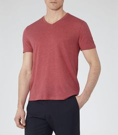 Mens Red V-neck T-shirt - Reiss Dayton Marl