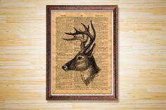 Deer print Animal poster Vintage decor by CrowDictionaryPrints