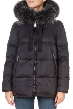This is the stunning Short Black Puffer Coat With Fur Trim from our friends at Pregio! A cosy piece with a central zip fastening, side pockets, and a detachable fur trim on hood. This is the perfect piece to carry you into the colder season! Winter Coats Women, Winter Jackets, Puffer Coat With Fur, Green Shorts, Khaki Green, Fur Trim, Cosy, Pockets, Zip