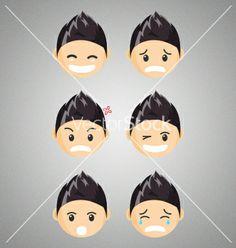 Different male chibi reaction faces vector art - Download Man vectors