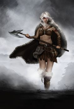 f Barbarian Battle Axe night Picture fantasy, girl, woman, barbarian) Fantasy Warrior, Fantasy Rpg, Fantasy Women, Medieval Fantasy, Fantasy Girl, Female Viking Warrior, Warrior Girl, Warrior Women, Fantasy Characters
