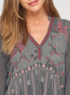 Detail: Johnny Was Embroidered Koko Blouse in Grey Tonal and Berry #embroidery #design