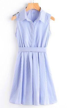Lapel Button Bow Tie Back Shirt Dress