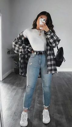Flannel Outfits Summer, Trendy Fall Outfits, Cute Casual Outfits, Edgy Outfits, Winter Fashion Outfits, Mode Outfits, Simple Outfits, Look Fashion, Pretty Outfits