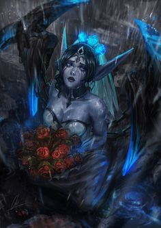 Ghost Bride Morgana by CGlas female dark elf drow wife wedding roses rain armor clothes clothing fashion player character npc | Create your own roleplaying game material w/ RPG Bard: www.rpgbard.com | Writing inspiration for Dungeons and Dragons DND D&D Pathfinder PFRPG Warhammer 40k Star Wars Shadowrun Call of Cthulhu Lord of the Rings LoTR + d20 fantasy science fiction scifi horror design | Not Trusty Sword art: click artwork for source