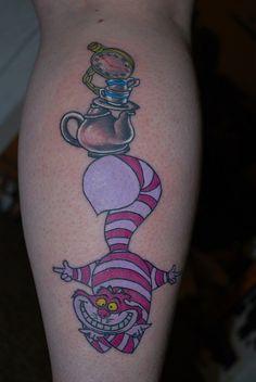 Calf Tattoo love alice in wonderland