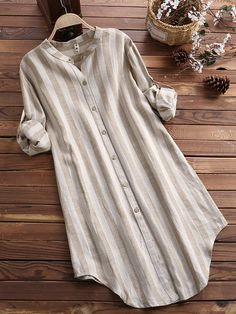 Vertical Striped Stand Collar Long Sleeve Cotton Linen Shirts look not only special, but also they always show ladies' glamour perfectly and bring surprise. Shirt Dress Button Up, Long Sleeve Shirt Dress, Long Sleeve Shirts, Cotton Shirt Dress, Long Blouse, Tunic Blouse, Tunic Tops, Hijab Stile, Kurta Designs Women
