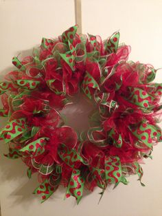 Christmas ruffle deco mesh wreath.