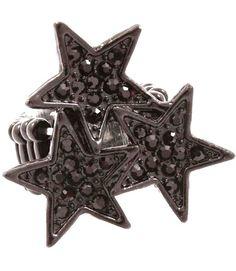 Crystal Triple Star Stretch Ring Black Adjustable