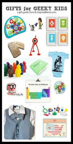 """Do you embrace the label of """"GEEK"""" in your home?  Here are some fun ideas for Gifts for Geeks – Kid Style - a holiday gift guide from B-InspiredMama.com"""