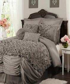 Lush Decor Lucia Gray King 4 Piece Comforter Set by Lush Decor Bedding : The Home Decorating Company Velez Amaro Not too shabby Grey Comforter Sets, Grey Bedding, Luxury Bedding, Bedding Sets, Bohemian Comforter, Silver Bedding, Dream Bedroom, Home Bedroom, Master Bedrooms