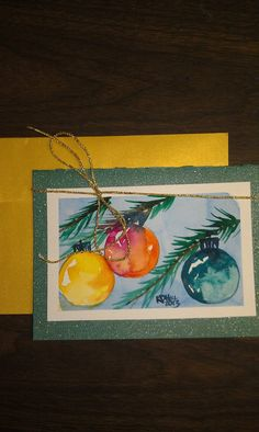 This is a lovely HandPainted, Hand made Christmas Card. It is painted on Arches 140lb cold pressed paper and mounted on card stock. There is