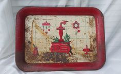 Vintage Rusty Crusty Red Serving Tray by TymelessTrinkets on Etsy
