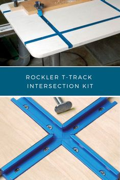 Woodworking Shop Rockler T-Track Intersection Kit - Slide your jigs and fixtures in almost any direction! Woodworking Jigsaw, Woodworking Furniture Plans, Woodworking Projects That Sell, Router Woodworking, Woodworking Crafts, Woodworking Shop Storage Ideas, Wood Working For Beginners, Workshop Ideas, Work Trailer