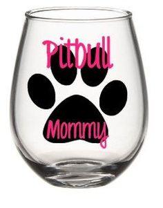 I Love My Pitbull Wine Glass Set Pitbull by SiplySophisticated