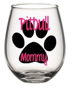 I Love My Pitbull Wine Glass Set Pitbull by SiplySophisticated