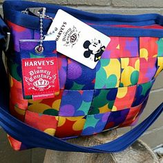 "NWT Harvey's ""Pop Art Mickey"" Tote Bag Disney Colorful Convertible Tote made of durable auto seat belts, Adjustable strap, Zip closure, Polished nickel hardware, Internal zip pocket, 4 internal slip pockets, monogrammed liner, metal feet, D-day for keys, Made in USA. Price FIRM. Harveys Bags Totes"