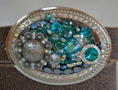 Swarovski Blue Zircon Concho Crystal Belt by CreativityAtPlay, $72.00