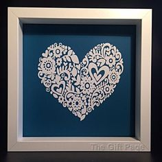 Lacey Heart Design Box Frame Shadow Box Frame Gift by TheGiftPage