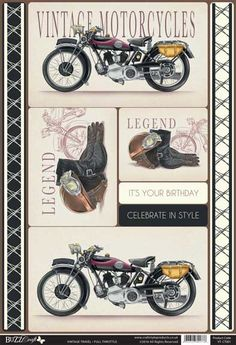 Buzzcraft Vintage Travel die cut toppers - Full Throttle, Motorcycle