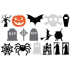 Free SVG and cut files from Birdscards Halloween Characters pumpkin ghost bat tree grave tombstone spider reaper witch cross coffin cauldron skull web haunted house