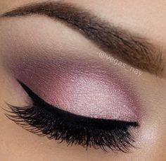 Sparkly magenta/pink eyeshadow with liquid eyeliner