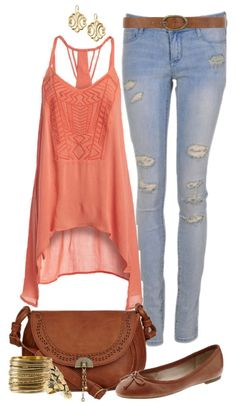 """Casual Coral"" by angela-windsor on Polyvore"