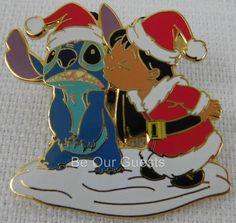 Disney Parks Lilo and Stitch Kissing Santa Christmas Holiday Pin New 2004