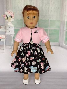 Doll dress and jacket for American Girl Maryellen or Melody. Black novelty print and monogrammed jacket.