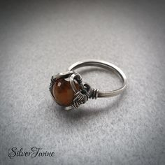 Sterling Silver Tiger's Eye Ring Wire Wrapped by SilverTwine