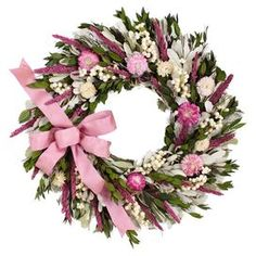 """Enjoy the beauty of nature throughout the seasons with this beautiful wreath, showcasing natural leaves with faux pink strawflowers and berries in a natural twig base.  Product: Preserved wreathConstruction Material: Preserved materials, silicone and a natural twig baseColor: PinkDimensions: 18"""" DiameterCleaning and Care: Wipe gently with a dry cloth. Keep out of direct sunlight."""