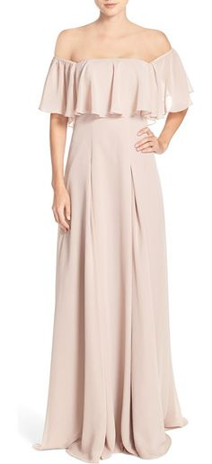 off the shoulder chiffon gown by Monique Lhuillier Bridesmaids.