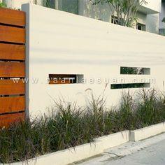 modern stucco gate wood - Google Search