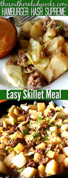A great, easy comfort food skillet meal. Wonderful for a busy weeknight or anytime you want a fast meal that […] Hamburger And Cabbage Recipe, Hamburger Meat Recipes Easy, Hamburger Hash, Meat And Potatoes Recipes, Hamburger Dishes, Ground Beef Recipes, Hamburger Helper, Cabbage Recipes, Quick Vegetarian Meals