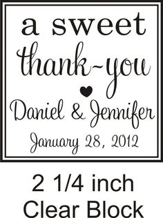 a sweet thank you rubber stamp great for candy bar favors. $23.00, via Etsy.