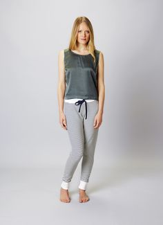 Cropped silk vest and stripey jogger Yoga Bolster, Yoga Accessories, Joggers, Harem Pants, Vest, Silk, Shopping, Collection, Fashion