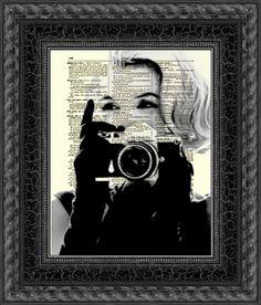 Marilyn Monroe with Camera, Marilyn Monroe Art Print, Print on Dictionary Paper, Wall Decor, Mixed Media Collage. $10.00, via Etsy.