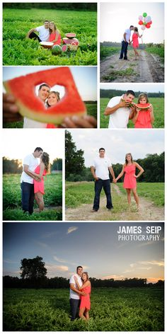 This couple had their engagement pictures done in a Watermelon feild! James Seip Photography - Salisbury, MD Portrait Photographer - Engagement session