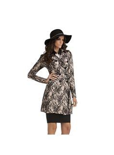 Kardashian Kollection Women's Lace Trench Coat