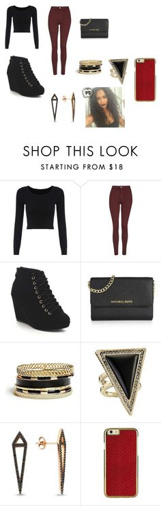 """Party day"" by queenkayla01 ❤ liked on Polyvore featuring Topshop, Michael Kors, GUESS, House of Harlow 1960, Amorium, women's clothing, women, female, woman and misses"
