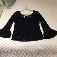Free People Lace Long Sleeve Black lace top with built in undershirt. Super cute! Has ruffled effect at the bottom of sleeves. Barely worn and has no snags or tears! #freepeople #lace #top #tops #bestintops #cute #boho #bohemian Free People Tops