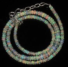"""34Ctw1Necklace 3to5mm 16"""" Beads Natural Genuine Ethiopian Welo Fire Opal 84856"""
