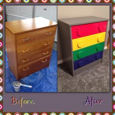 Lego dresser from vintage thrift store... using spray paint and cut circles with scroll saw & knotched finger saw & with router