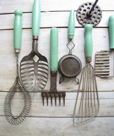 Super cute - vintagey and love the mint green! collection of 14 assorted green kitchen utensils by barleyandrye, $84.00