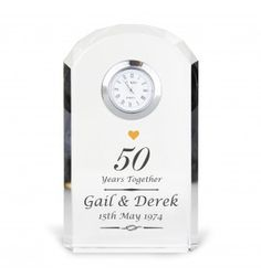 Golden Anniversary Crystal Clock | Clocks | Exclusively Personal
