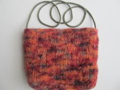 Coral and Burgundy Felted Handknit Purse. by SusanDeanne on Etsy, $14.50