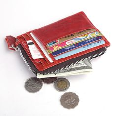 Men Women Genuine Leather ID Credit Card Coin Holder Small Wallet Purse  #teemzone