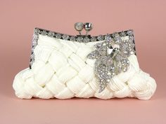 Ivory bridal clutch purse with pleated and braided satin, rhinestone studded frame, and vintage style brooch!!