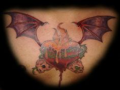 Old school #Gothic heart #tattoo with bat wings